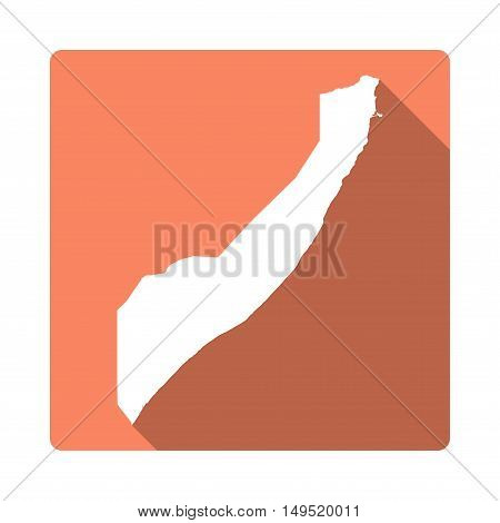 Vector Somalia Map Button. Long Shadow Style Somalia Map Square Icon Isolated On White Background. F