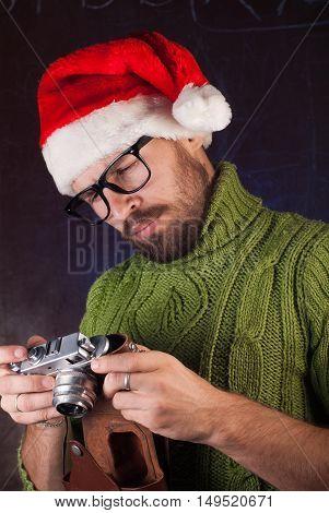 Bearded Man In A Red Santa Hat,