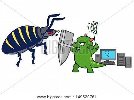 Vector hand drawn cartoon illustration of a green dragon monster mascot character sword and fly swatter in hand protecting computer from bug virus malware attack.