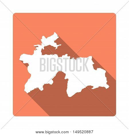 Vector Tajikistan Map Button. Long Shadow Style Tajikistan Map Square Icon Isolated On White Backgro