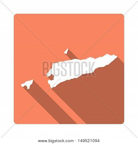 Vector Timor-leste Map Button. Long Shadow Style Timor-leste Map Square Icon Isolated On White Backg