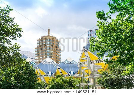 ROTTERDAM, Netherlands - August 10, 2016 : Street view of Rotterdam City Netherlands. back to 1270 when a dam was constructed in the Rotte river by people settled around it for safety.
