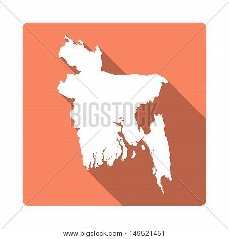 Vector Bangladesh Map Button. Long Shadow Style Bangladesh Map Square Icon Isolated On White Backgro