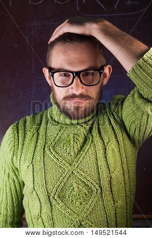 Young Bearded Hipster Man Wearing Glasses.