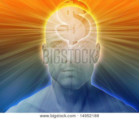 Hombre pensando en dólares de dinero, flotando encima de la cabeza