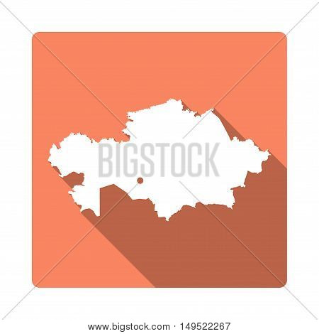 Vector Kazakhstan Map Button. Long Shadow Style Kazakhstan Map Square Icon Isolated On White Backgro