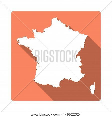 Vector France Map Button. Long Shadow Style France Map Square Icon Isolated On White Background. Fla