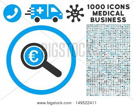 Euro Financial Audit icon with 1000 medical business gray and blue glyph pictograms. Design style is flat bicolor symbols white background.