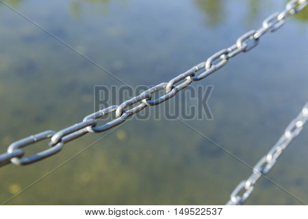 Metal chain limiting access to water metal