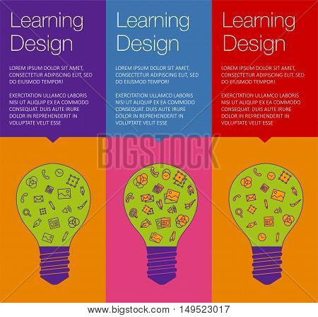 Vector banner with light bulb of idea. Vertical banner for education online courses. Colorful banner with ballon talk for ux design of idea. Tip and hint for brain. Banner for Hackathon event.