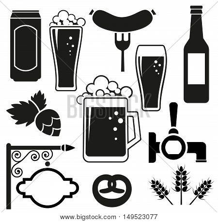 Beer vector icons set (hops leaf glass can mug bottle)