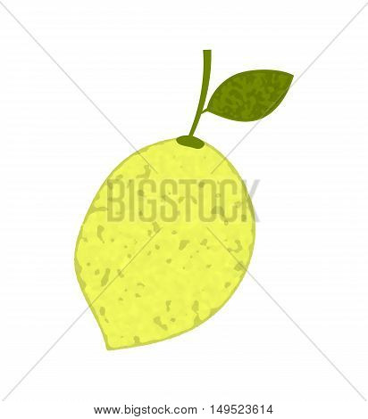 Lemon with sprig and leaf on white background.