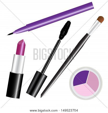 make-up cosmetic set violet isolated vector illustration