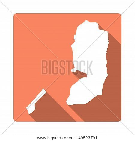 Vector Palestine Map Button. Long Shadow Style Palestine Map Square Icon Isolated On White Backgroun