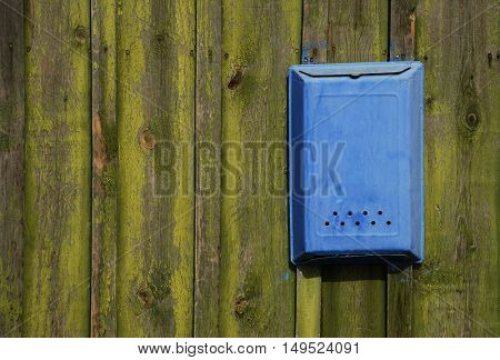 Traditional Old Blue mail letter box