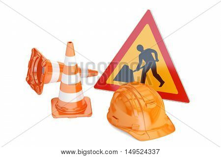 Traffic cones hardhat and road sign. Under construction concept 3D rendering isolated on white background