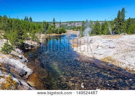 Firehole River And Mortar Geyser