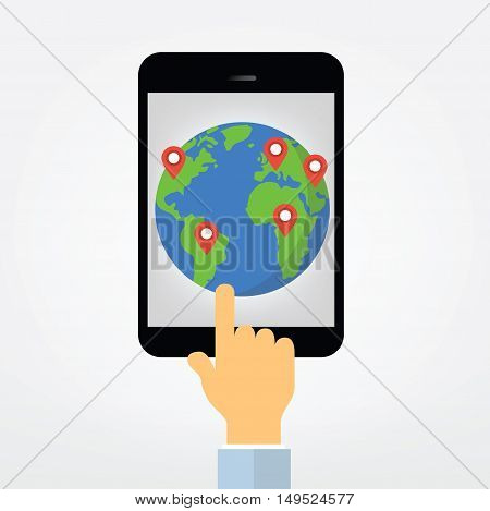 Hand Pointing On Tablet Computer Display Illustration