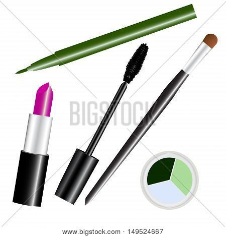 make-up cosmetic set green isolated vector illustration
