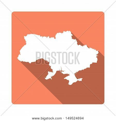 Vector Ukraine Map Button. Long Shadow Style Ukraine Map Square Icon Isolated On White Background. F