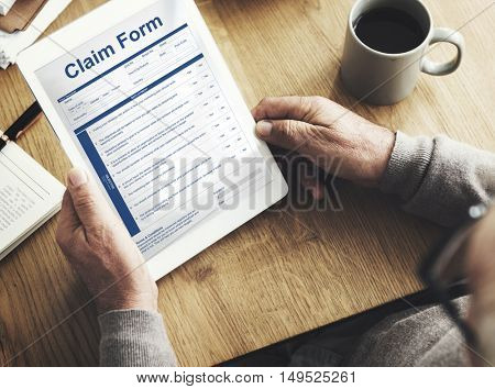 Claim Form Document Refund Indemnity Concept