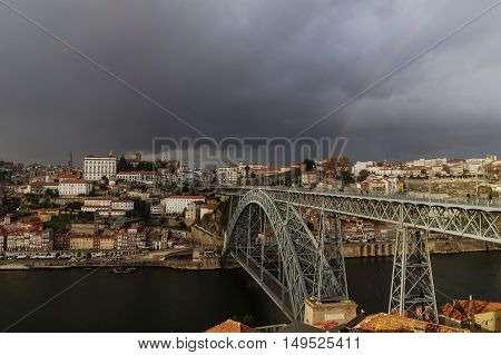 View of Porto on a stormy day
