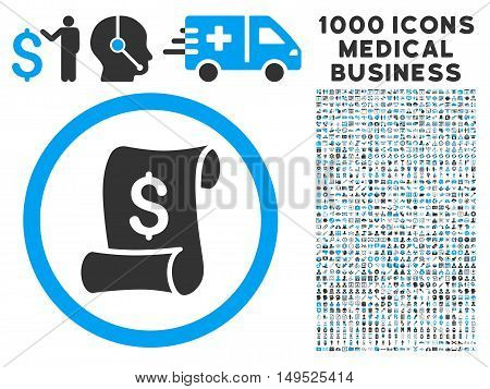 Financial Receipt Roll icon with 1000 medical business gray and blue glyph pictographs. Set style is flat bicolor symbols white background.