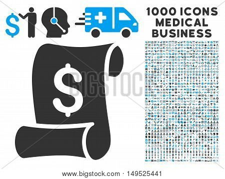 Financial Receipt Roll icon with 1000 medical commercial gray and blue glyph pictographs. Collection style is flat bicolor symbols white background.