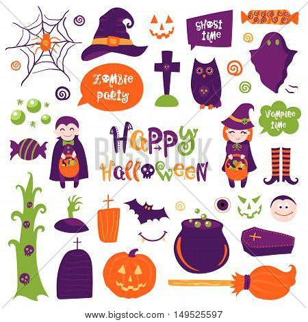 Halloween vector isolated elements collection. Colorful hand drawn different items. Doodle style.