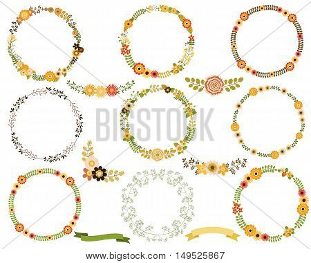 Vector flower wreaths. Round borders for spring, summer and autumn designs.