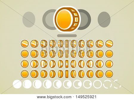 Animation of rotating gold coins for creating video game