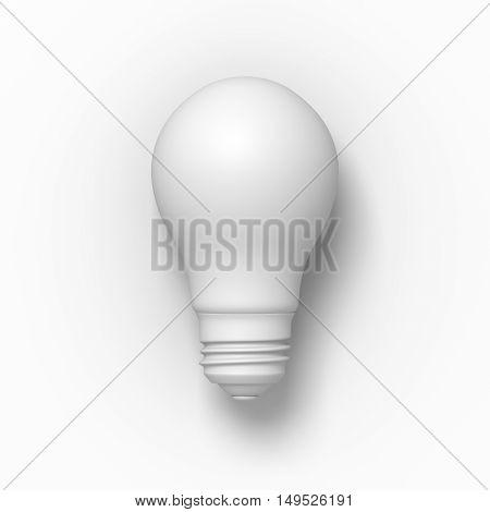 White light bulb on the light grey background. 3D illustration