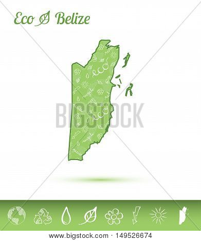 Belize Eco Map Filled With Green Pattern. Green Counrty Map With Ecology Concept Design Elements. Ve