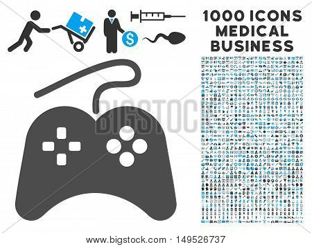 Gamepad icon with 1000 medical commerce gray and blue glyph pictographs. Set style is flat bicolor symbols white background.