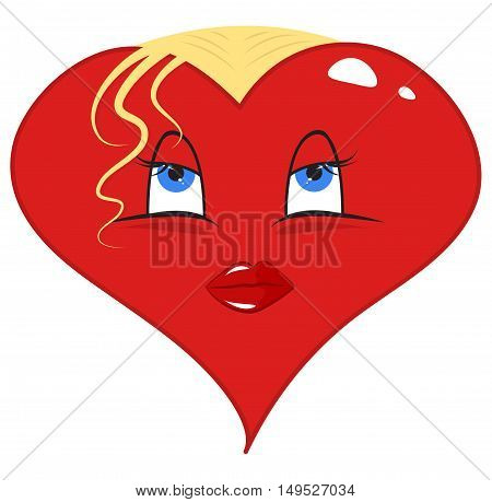 Cartoon red heart - blonde with blue eyes. Vector illustration