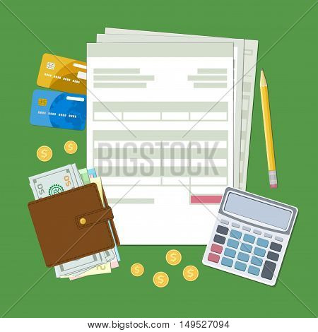 Concept of tax payment and invoice. Tax, bills, wallet with cash money, golden coins, credit cards, calculator, pencil. Vector illustration.