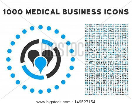 Geo Diagram icon with 1000 medical commercial gray and blue glyph pictograms. Design style is flat bicolor symbols white background.