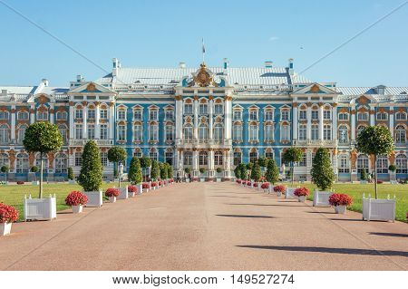 Gorgeous ancient Catherine Palace in Tsarskoe Selo park in Pushkin town near Saint-Petersburg, Russia at sunny day