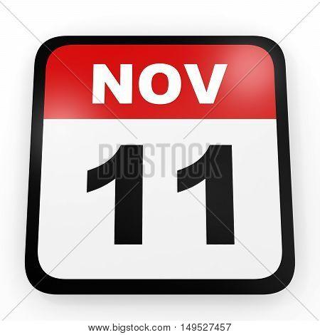 November 11. Calendar On White Background.