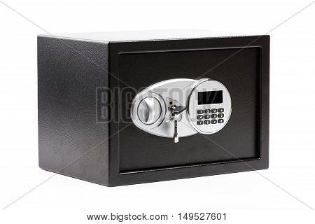 Black Metal Safe Box With Numeric Keypad Locked System And Keys
