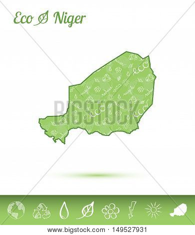Niger Eco Map Filled With Green Pattern. Green Counrty Map With Ecology Concept Design Elements. Vec