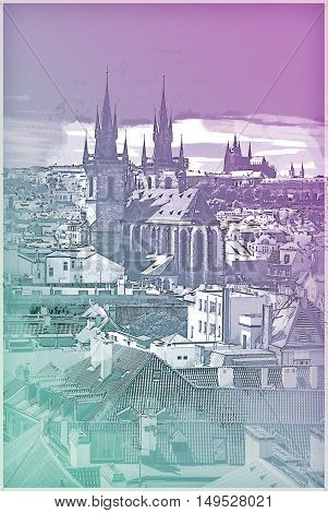 Cityscape of Prague, the St.Vitus Cathedral is visible in the distance. Vintage painting, background illustration, beautiful picture, travel texture