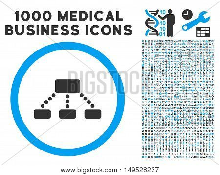 Hierarchy icon with 1000 medical business gray and blue glyph design elements. Design style is flat bicolor symbols white background.