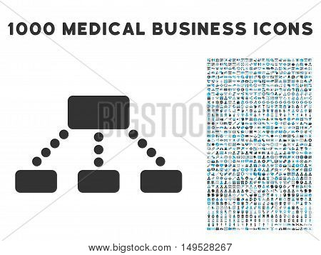Hierarchy icon with 1000 medical business gray and blue glyph design elements. Clipart style is flat bicolor symbols white background.