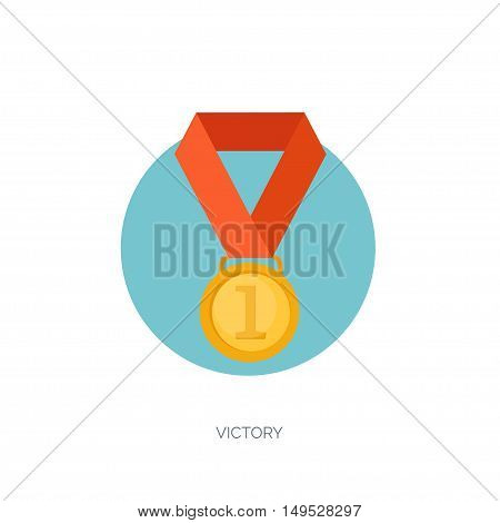 Vector illustration set. Flat business concept background. Achievements, mission. Aims, new ideas. Smart solutions. First place. Medal.
