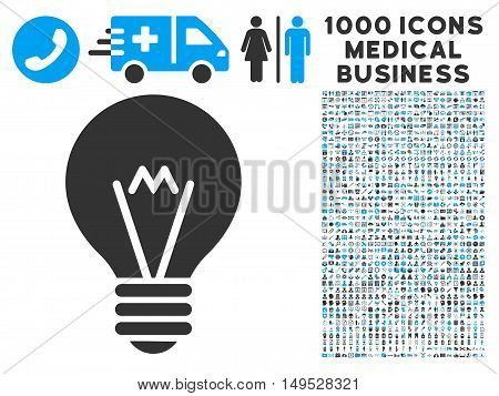 Hint Bulb icon with 1000 medical commercial gray and blue glyph pictograms. Collection style is flat bicolor symbols white background.