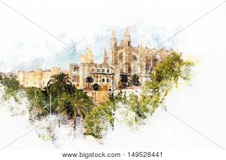 Cathedral of Palma de Mallorca viewed through lush greenery of the island. Vintage painting, background illustration, beautiful picture, travel texture