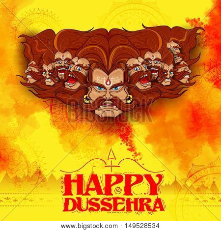 llustration of Raavana with ten heads for Dussehra Navratri festival of India poster