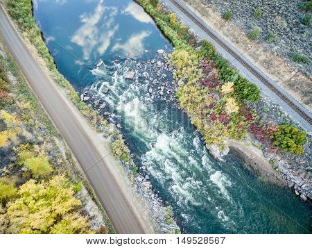 Rodeo Rapid on the upper Colorado River at Burns, Colorado, USA, aerial view in early fall
