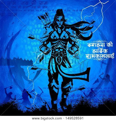 illustration of Lord Rama with arrow killing Ravana in Dussehra Navratri festival of India poster with message in Hindi meaning wishes for Dussehra